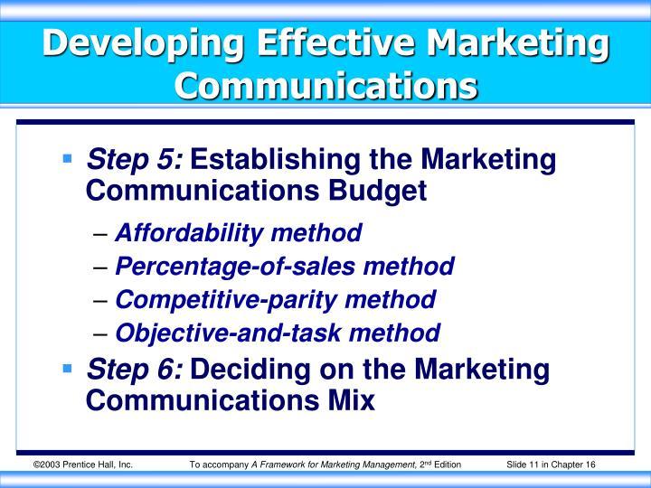 Developing Effective Marketing Communications