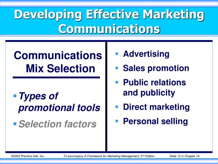 Communications Mix Selection