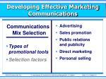 developing effective marketing communications9