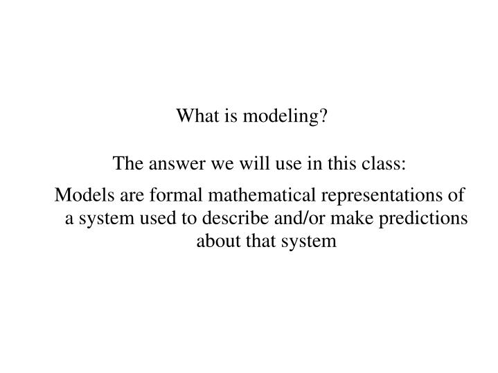 What is modeling?
