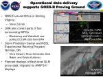 operational data delivery supports goes r proving ground