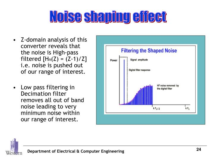 Z-domain analysis of this converter reveals that the noise is High-pass filtered [H