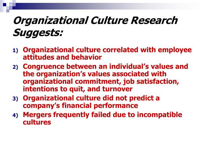 Organizational Culture Research Suggests: