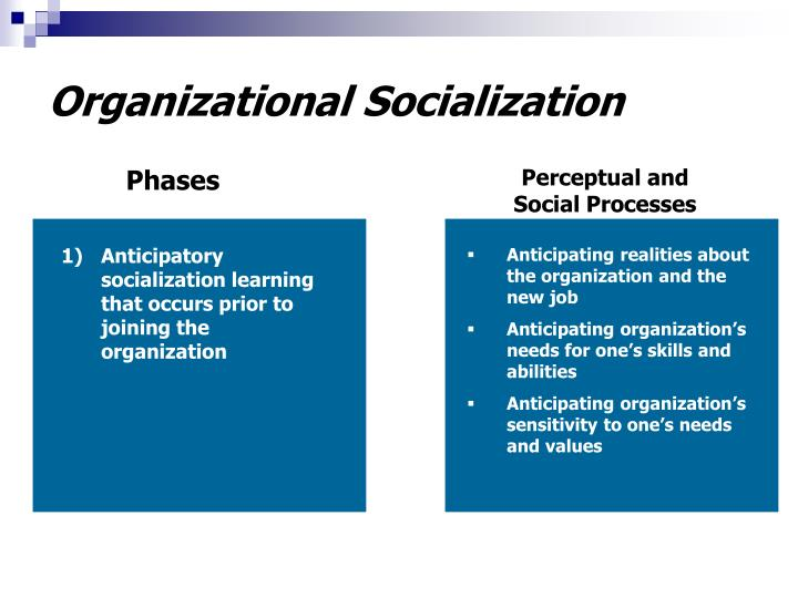 Anticipatory socialization learning that occurs prior to joining the organization