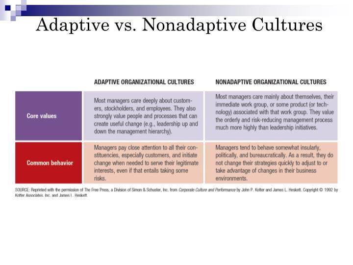 Adaptive vs. Nonadaptive Cultures