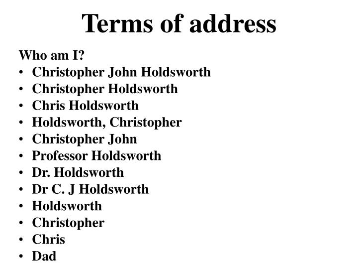 Terms of address