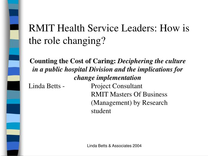 RMIT Health Service Leaders: How is the role changing?