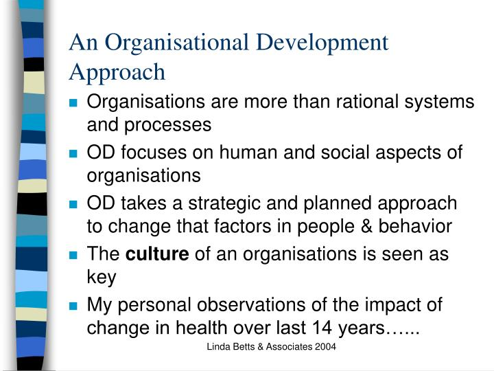 An Organisational Development Approach