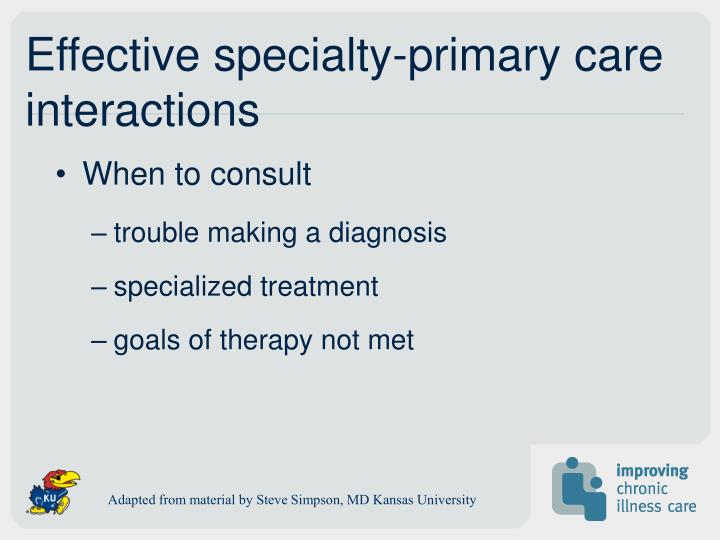 Effective specialty-primary care interactions