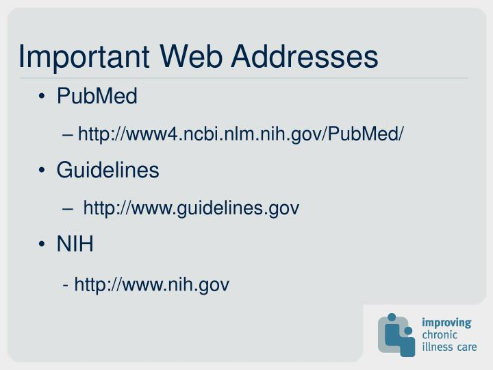 Important Web Addresses