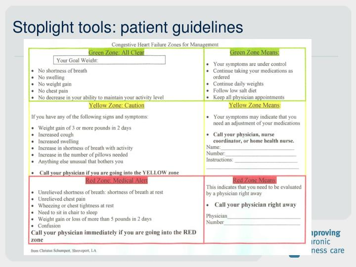 Stoplight tools: patient guidelines
