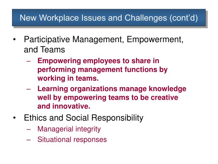 New Workplace Issues and Challenges (cont'd)