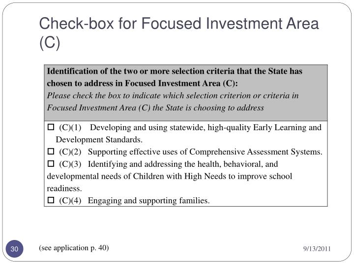 Check-box for Focused Investment Area (C)