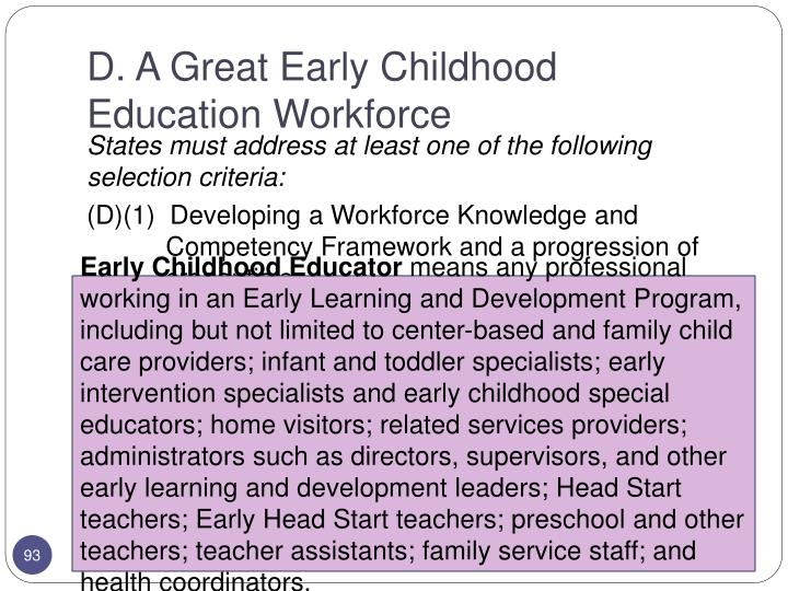D. A Great Early Childhood Education Workforce