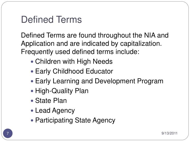 Defined Terms