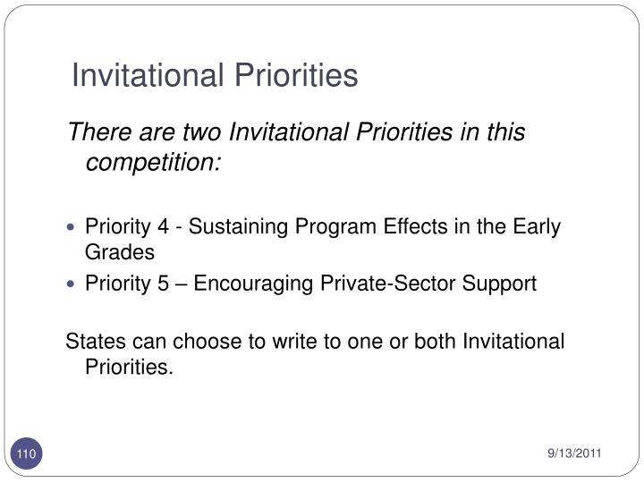 Invitational Priorities