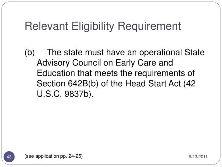 Relevant Eligibility Requirement