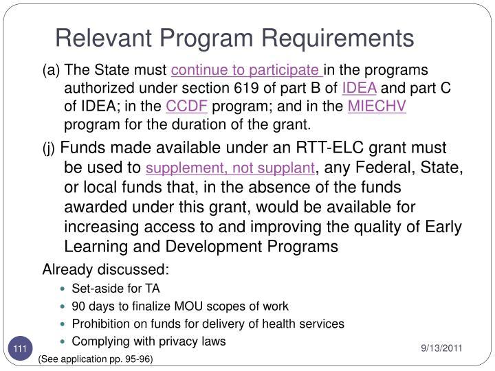 Relevant Program Requirements