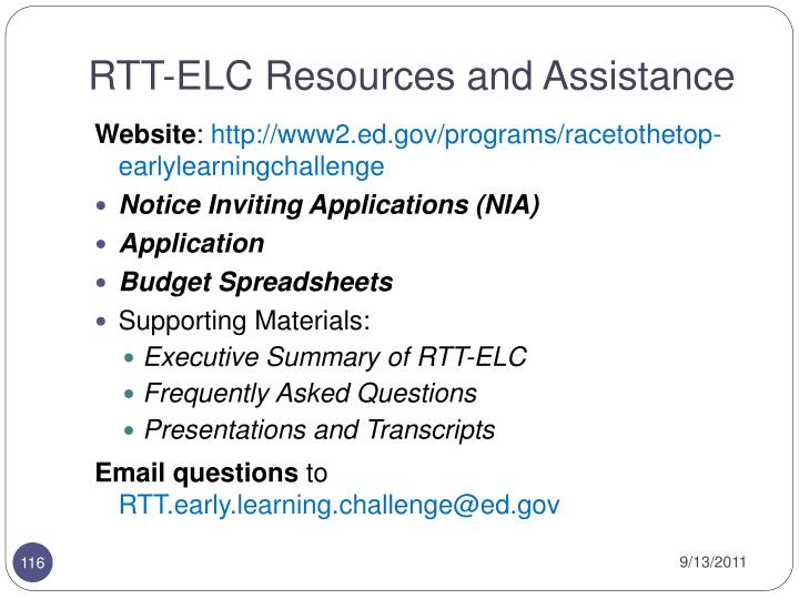RTT-ELC Resources and Assistance