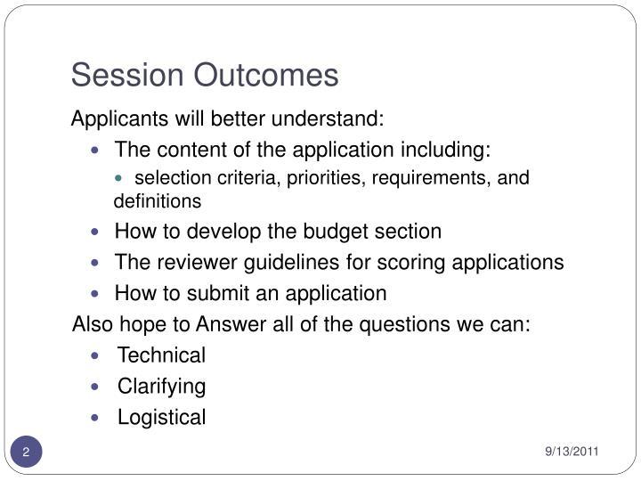 Session Outcomes