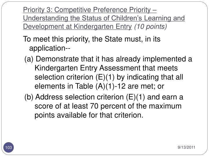 Priority 3: Competitive Preference Priority – Understanding the Status of Children's Learning and Development at Kindergarten Entry