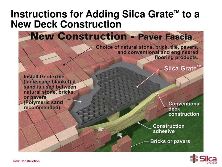 Instructions for adding silca grate tm to a new deck construction