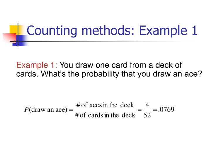 Counting methods: Example 1