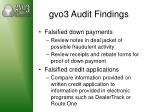 gvo3 audit findings