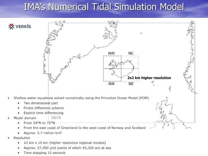 IMA's Numerical Tidal Simulation Model