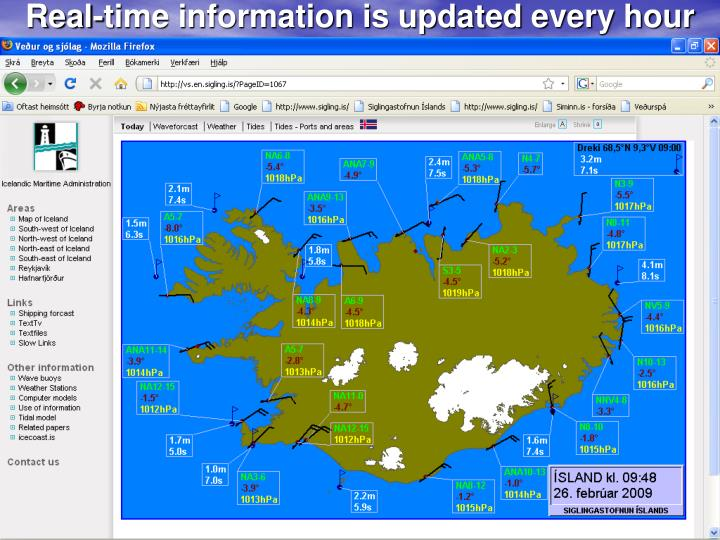 Real-time information is updated every hour
