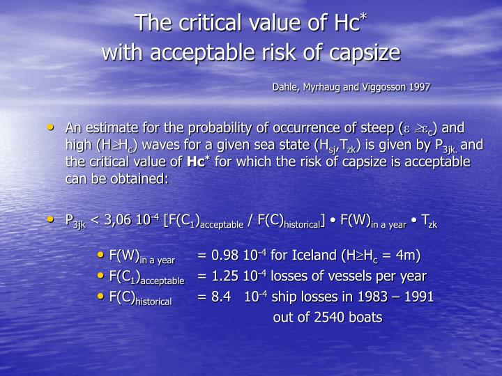 The critical value of Hc