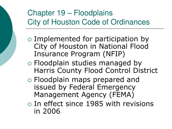 Chapter 19 – Floodplains