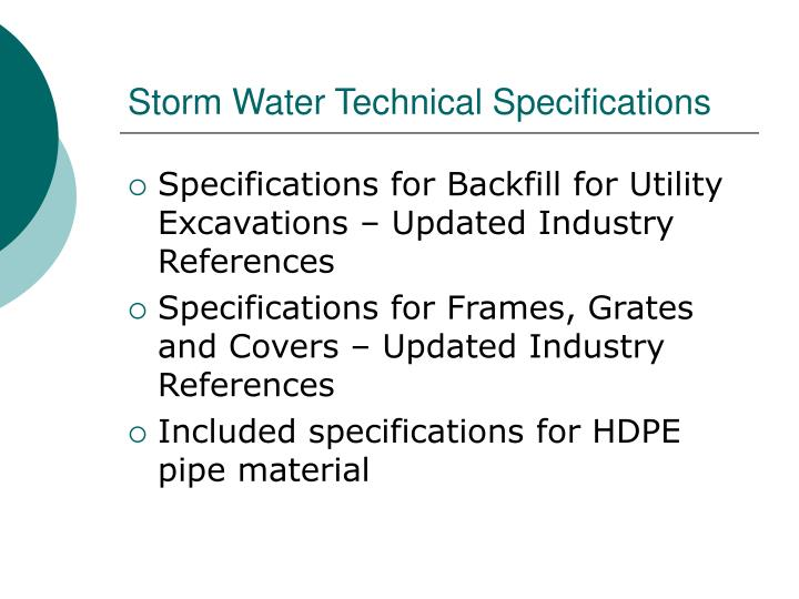 Storm Water Technical Specifications