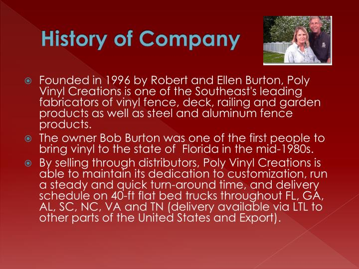 History of Company