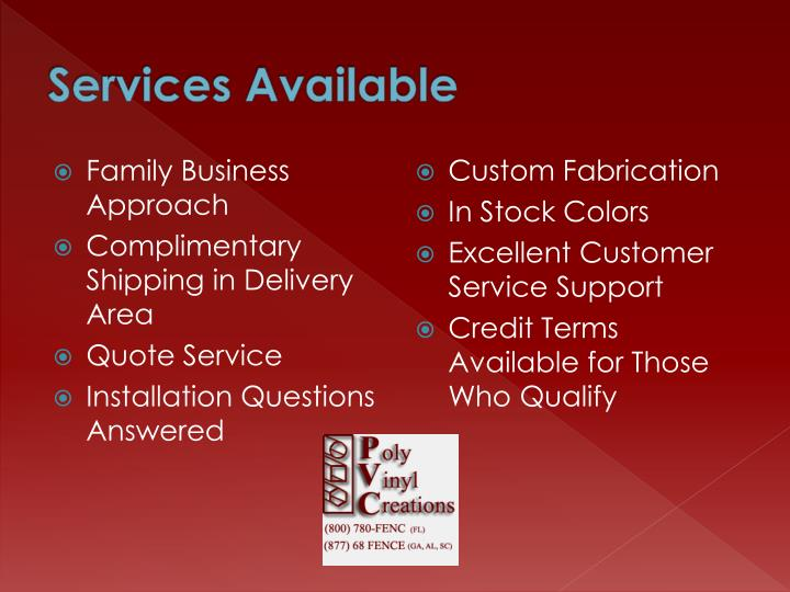 Services Available