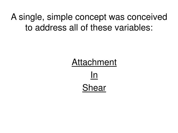 A single, simple concept was conceived to address all of these variables: