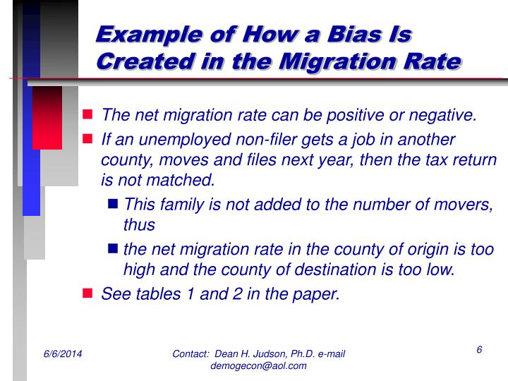 Example of How a Bias Is Created in the Migration Rate