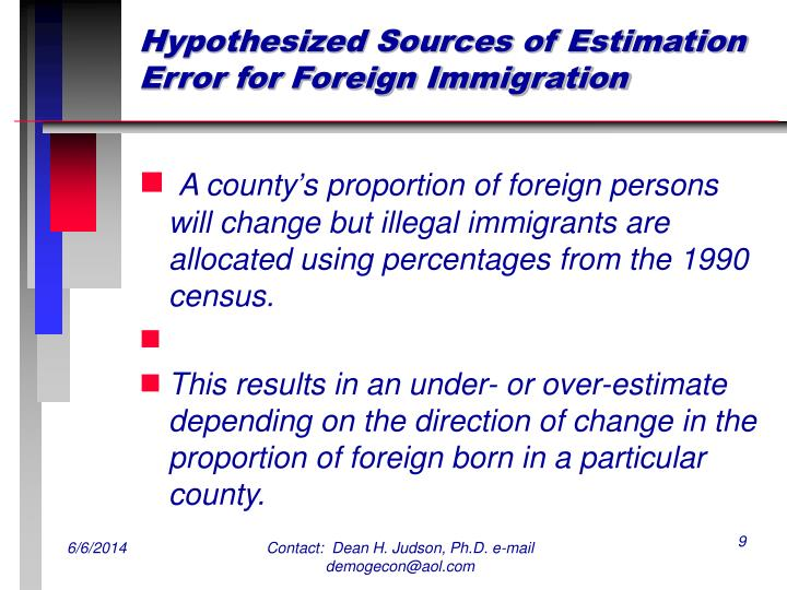 Hypothesized Sources of Estimation Error for Foreign Immigration