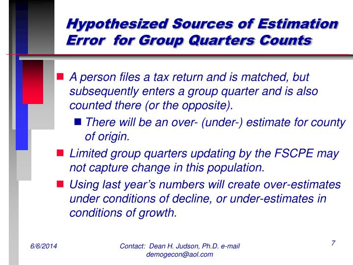 Hypothesized Sources of Estimation Error  for Group Quarters Counts