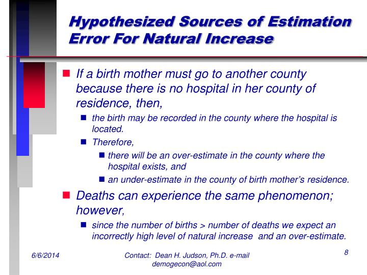 Hypothesized Sources of Estimation Error For Natural Increase