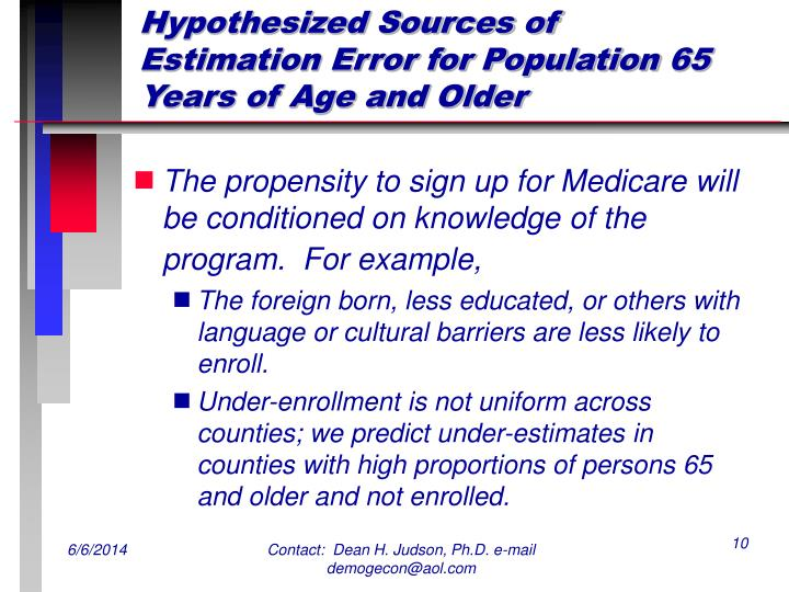 Hypothesized Sources of Estimation Error for Population 65 Years of Age and Older