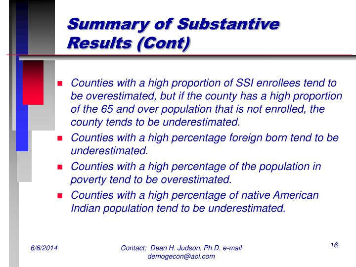 Summary of Substantive Results (Cont)
