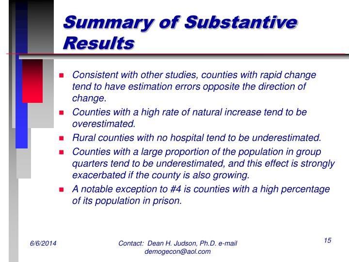 Summary of Substantive Results