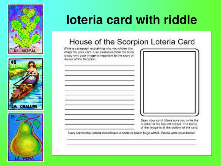 loteria card with riddle