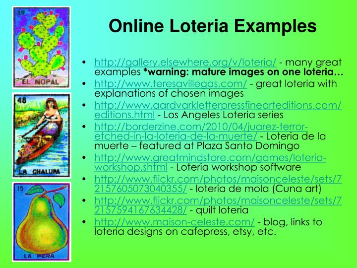 Online Loteria Examples