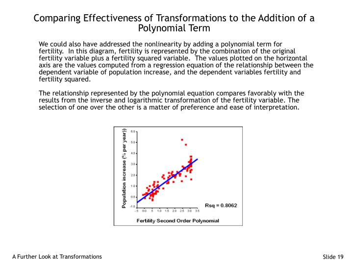Comparing Effectiveness of Transformations to the Addition of a Polynomial Term