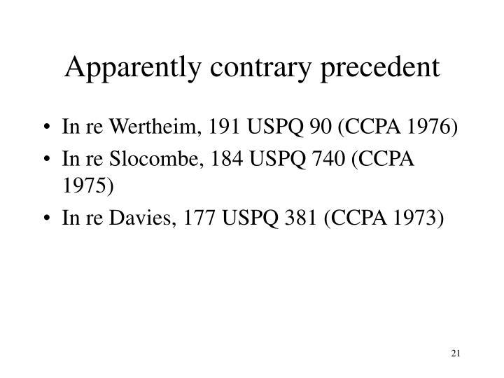 Apparently contrary precedent
