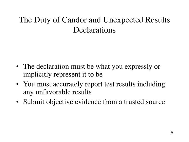 The Duty of Candor and Unexpected Results Declarations
