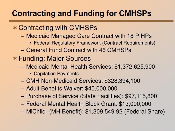 Contracting and Funding for CMHSPs
