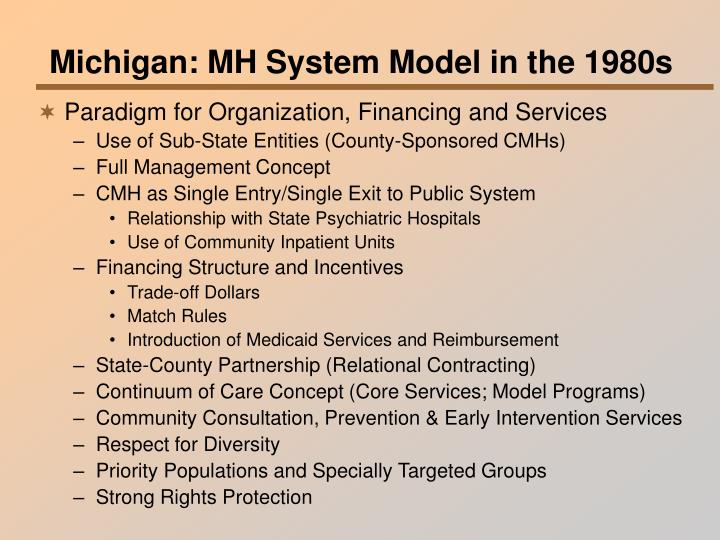 Michigan: MH System Model in the 1980s
